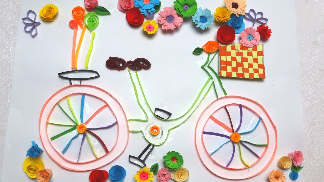 Quilling cycle Quilled Cycle DIY Paper Cycle   Quilling Bicycle  flowers  filigrana paper thumb